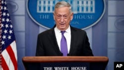 In this Feb. 7, 2018, photo, Defense Secretary Jim Mattis speaks during the daily news briefing at the White House, in Washington.