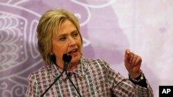 Ứng viên tổng thống của đảng Dân chủ Hillary Clinton phát biểu tại Fort Lauderdale, Florida, ngày 21/5/2016.