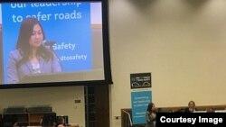 ທ.ນ. ນ້ອຍ ບັນລະຍາຍ ຢູ່ກອງປະຊຸມ Global Road Safety, ຊຶ່ງເປັນໂຄງການນຶ່ງຂອງມູນນິທິ UPS, ຈັດໂດຍ ອົງການສະຫະປະຊາຊາດ, ວັນທີ 28 ກຸມພາ, 2019
