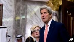 Ngoại trưởng Mỹ John Kerry tại Thượng đỉnh Hội đồng Hợp tác vùng Vịnh tại Riyadh, Ả Rập Xê-út, ngày 21/4/2016.