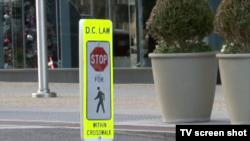 美国首都华盛顿市的人行道标志 (视频截图)