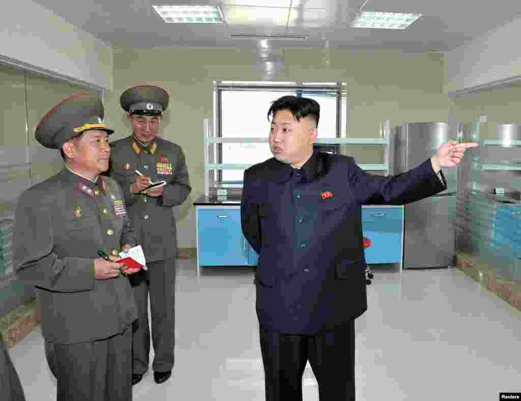 North Korean leader Kim Jong Un visits the Turf Institute of the Bioengineering Branch under the State Academy of Sciences in Pyongyang. (KCNA)