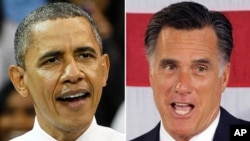 President Barack Obama, left, and Republican presidential candidate former Massachusetts Governor Mitt Romney