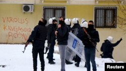Turkish riot police secure the area outside the pro-Kurdish Democratic Regions Party (DBP) headquarters in the southeastern city of Diyarbakir, Turkey, Jan. 5, 2016. Security forces killed 32 Kurdish militants in Turkey's mainly Kurdish southeast this weekend, the army and security sources said on Jan. 10, 2016.