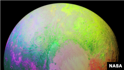 New Horizons scientists made this false color image of Pluto using a technique called principal component analysis to highlight the many subtle color differences between Pluto's distinct regions. The image data were collected by the spacecraft's Ralph/MVI