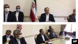 伊朗外交部發布的照片顯示伊朗外交官2021年4月2日在德黑蘭同主要國家代表就核協議舉行視頻會議。歐盟代表也在座。