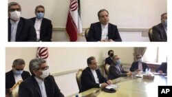 This combined photo released by the Iranian Foreign Ministry, shows Iranian diplomats attending a virtual talk on nuclear deal with representatives of world powers, in Tehran, Iran, Friday, April 2, 2021. The chair of the group including the European Unio