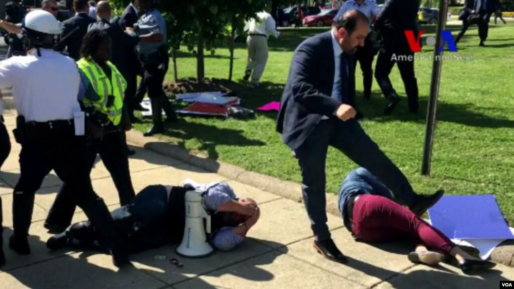Image result for photos of brawl outside turkish embassy