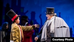 LUKE NAPHAT (LEFT) AND COUNT STOVALL (RIGHT) IN A CHRISTMAS CAROL MUSICAL (Credit: WMB Photo)