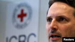 International Committee of the Red Cross (ICRC) Head of operations Pierre Krahenbuehl addresses a news conference after his return from a mission in Syria and Yemen in Geneva, Feb. 15, 2013.