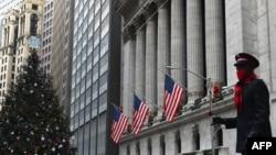 Gedung New York Stock exchange (NYSE) di Wall Street, Manhattan, New York City.