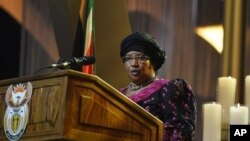 Malawi President Joyce Banda speaks during funeral service for former South African President Nelson Mandela, Qunu, South Africa, Dec. 15, 2013.