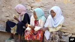 Ethiopian young girls waiting to travel to Yemen in Bossaso, the commercial city of the semi-autonomous region of Puntland and the launching pad of the people trying to cross the Gulf of Aden to Yemen.