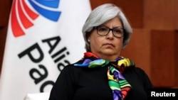 Menteri Perekonomian Meksiko Graciela Marquez dalam konferensi pers setelah menghadiri pertemuan di Mexico City, Meksiko, 10 Mei 2019.