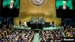 Presiden AS Donald Trump berbicara pada Sidang Majelis Umum PBB di New York tahun lalu (foto: dok).