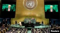 Presiden AS Donald Trump memberikan pidato di hadapan peserta Sidang ke-73 Majelis Umum PBB di kantor pusat PBB di New York, AS, 25 September 2018. (Foto: dok).