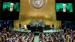 El presidente de EE.UU., Donald Trump, se dirige a la 73 Asamblea General de las Naciones Unidas en la sede de la ONU, en Nueva York, el 25 de septiembre de 2018. Foto: Reuters/Carlo Allegri.