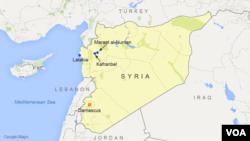 Peta lokasi kota Maarat al-Numan dan Kafranbel di Suriah utara (foto: dok).