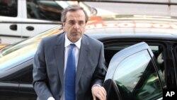 Greece's conservative leader of New Democracy's Antonis Samaras