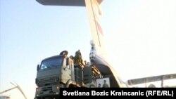 Выгрузка из российского самолета ракетной системы С-400. Батайница, 25 октября 2019 г.