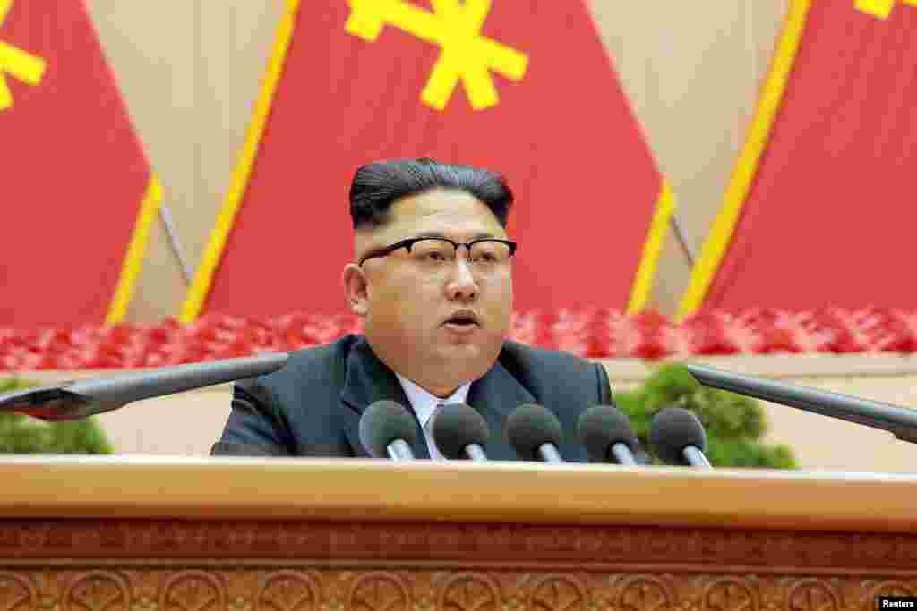 최근 평양체육관에서 열린 제1차 전국 노동당 초급당위원장 대회에서 발언하고 있는 김정은 북한 국무위원장.
