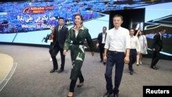 Ratu Rania dari Yordania mengunjungi kantor pusat Alibaba Group bersama salah satu pendiri dan kepala eksekutif, Jack Ma, di Hangzhou, Provinsi Zhejiang, China, 4 September 2018.