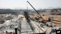 This photo, made available on April 2, 2013, shows the construction of the dam in Ethiopia's Asosa region.