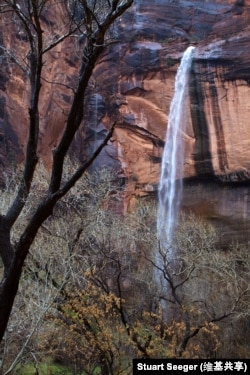 A waterfall at Emerald Pools in Zion National Park