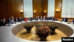 Bộ trưởng Ngoại giao Iran Mohammad Javad Zarif trong cuộc họp tại Trụ sở Liên Hiệp Châu Âu tại Geneva, ngày 20/11/2013.