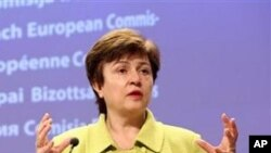 European Commissioner for International Cooperation, Humanitarian Aid and Crisis Response Kristalina Georgieva describes the EU's humanitarian aid projects to the media in Brussels (File Photo)