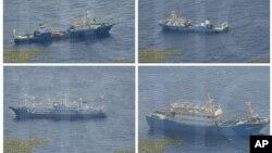 Hình ảnh ngày 3/9/2016 do Chính phủ Philippines cung cấp cho thấy các tàu tuần duyên và sà lan Trung Quốc ở bãi cạn Scarborough.