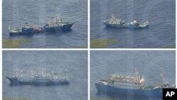 Loạt hình ảnh chụp ngày 3 tháng 9, 2016 do Chính phủ Philippines cung cấp cho thấy tàu hải cảnh của Trung Quốc tại Bãi cạn Scarborough ở Biển Đông.