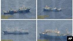 Một bức ảnh ghép hôm 3/9/2016 được chính phủ Philippines cung cấp cho thấy những hình ảnh giám sát của các tàu Trung Quốc tại bãi cạn Scarborough ở Biển Đông.