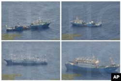 FILE - This combination of Sept. 3, 2016 photos provided by the Philippine Government shows what it says are surveillance pictures of Chinese coast guard ships and barges at the Scarborough Shoal in the South China Sea.