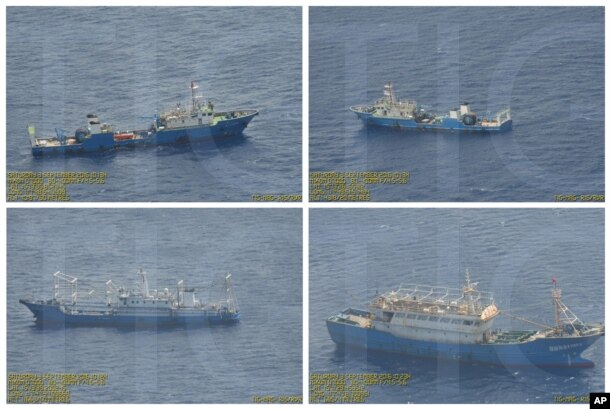 This combination of Sept. 3, 2016 photos provided by the Philippine Government shows what it says are surveillance pictures of Chinese coast guard ships and barges at the Scarborough Shoal in the South China Sea.