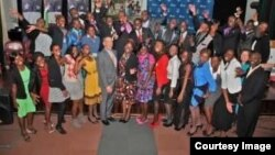 USAP scholarship recipients seen in Harare with U.S Ambassador to Zimbabwe, Bruce Wharton.