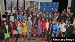 USAP scholarship recipients seen in Harare with former U.S Ambassador to Zimbabwe, Bruce Wharton.