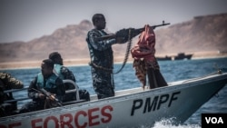 Puntland Maritime Police Force on patrol off the coast of Bossaso in northern Somalia in late March, 2018. The PMPF has been tasked with fighting piracy, illegal fishing, and other criminal activity. (J. Patinkin/VOA)