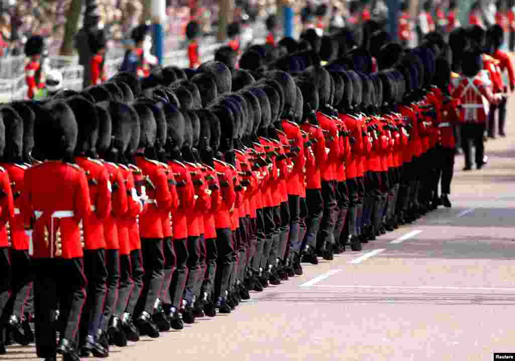 Members of the Household Division march for the annual Trooping the Colour Ceremony in London, June 9, 2018.