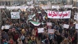 تظاهرات علیه بشار اسد پس از نماز جمعه در ادلب. ۹ دسامبر ۲۰۱۱
