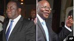 Movement for Democratic Change (MDC) formation leaders Morgan Tsvangirai and Tendai Biti. (AP Photos/Collage by Ntungamili Nkomo)