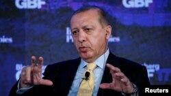 Recep Tayyip Erdogan lors du Forum de Bloomberg sur le business mondial à New York, le 20 septembre 2017.