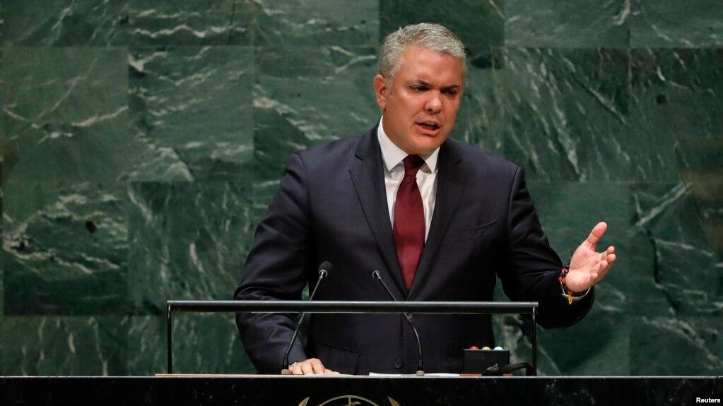 El presidente de Colombia, Ivan Duque, se dirige a la 74a sesión de la Asamblea General de las Naciones Unidas en la sede de la ONU en la ciudad de Nueva York.