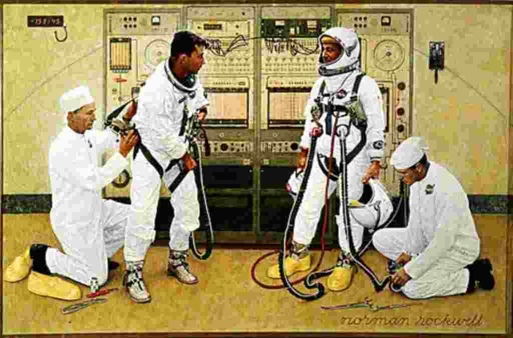 Los astronautas John Young y Gus Grissom se visten para el primer viaje del programa Gemini, en marzo de 1965. El dibujo se hizo que fuera lo más cercano a la realidad.