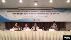 탈북민 이한별(맨 왼쪽)씨와 주찬양(맨 오른쪽)씨가 28일 서울 프레스센터에서 열린 유엔인권 최고대표사무소 보고서 발표 자리에서 북한에서의 경험을 증언했다.