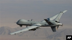 A Reaper drone patrols the skies in southern Afghanistan near the frontier with Pakistan. File photo.