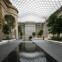 The courtyard of the Smithsonian's National Portrait Gallery and American Art Museum in Washington. The roof was designed by Norman Foster.