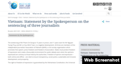 Thông cáo báo chí của EU ngày 6-1-2021 về bản án của ba nhà báo độc lập của Việt Nam