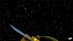 An artist's conception of the OSIRIS-REx spacecraft collecting a sample from asteroid 1999 RQ36.