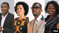 A partir da esq.: Akiules António, Selma Neves, Alfredo de Pina e Adelina Calundungo, participantes do programa Yali 2014 nos Estados Unidos da América. Junho 2014